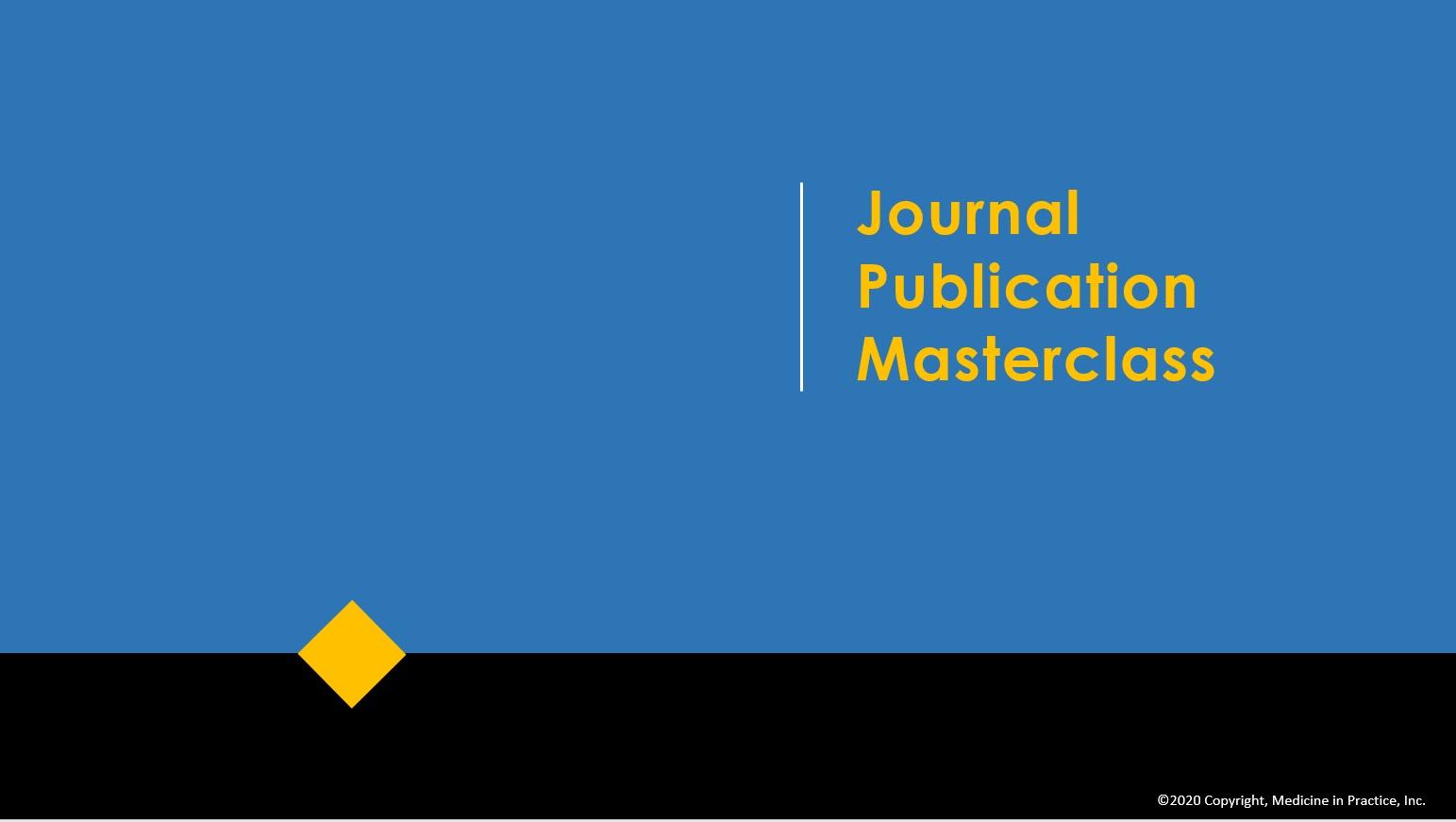 Journal publication masterclass ico